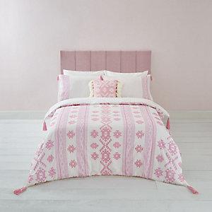 Parure de lit king à broderie aztèque rose