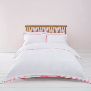 White pink border double duvet bed set