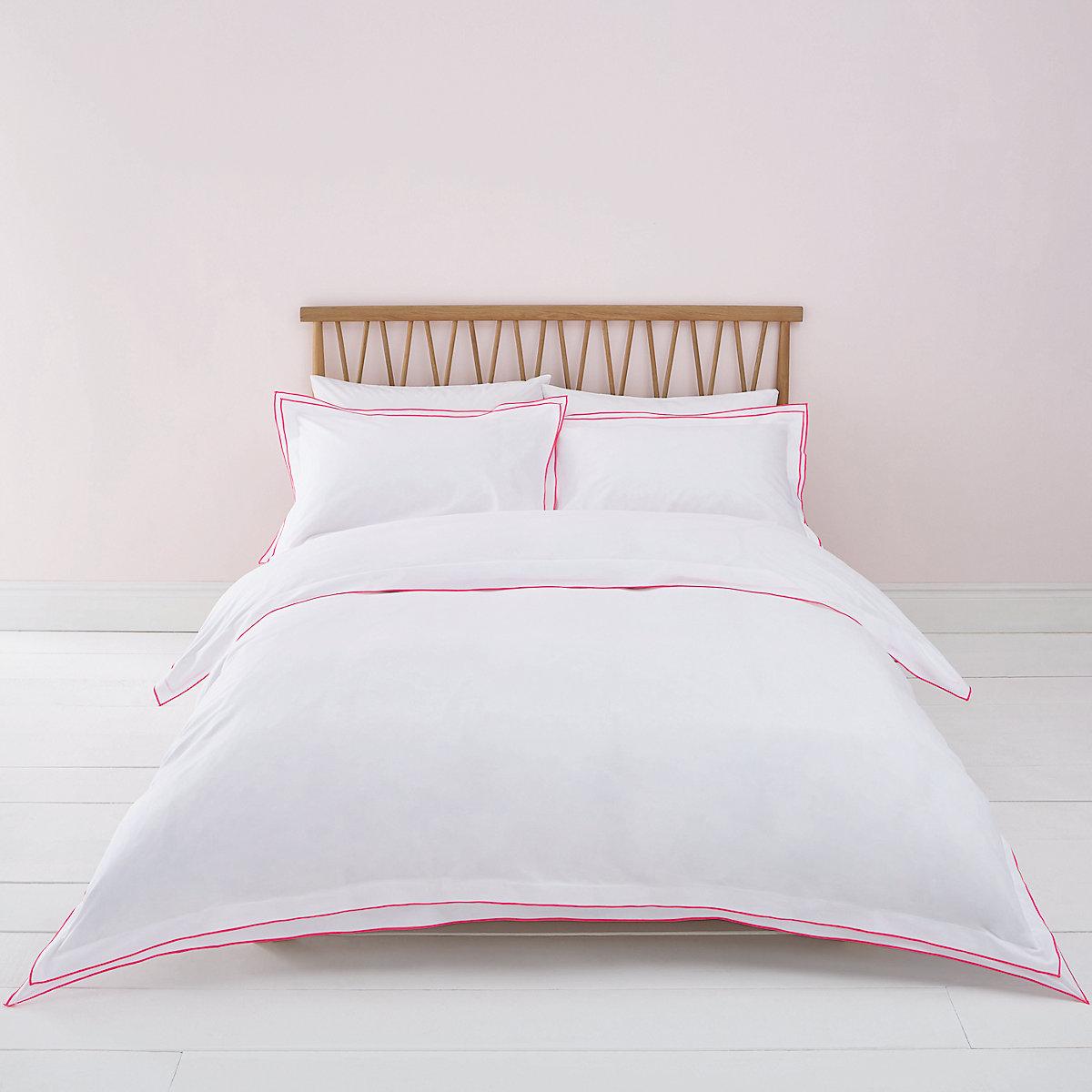White pink border double duvet bed set