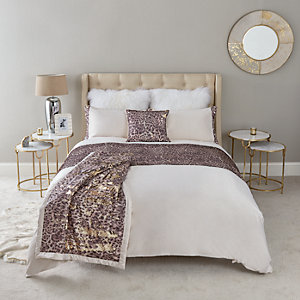 Parure de lit double imprimé léopard à sequins crème