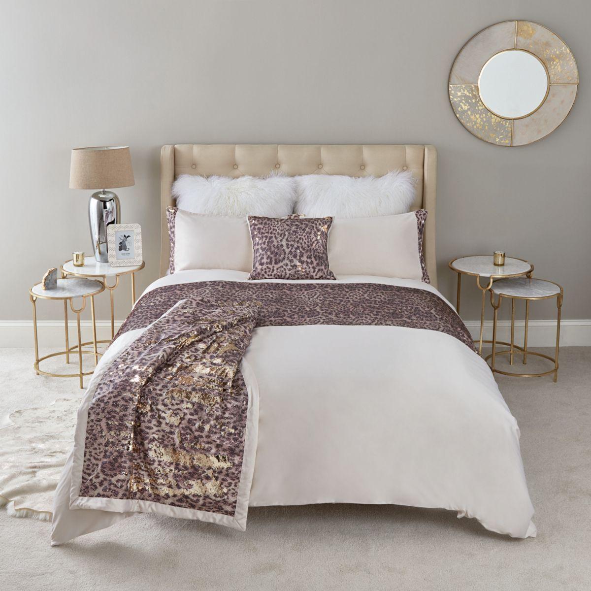 Cream leopard print double duvet bed set