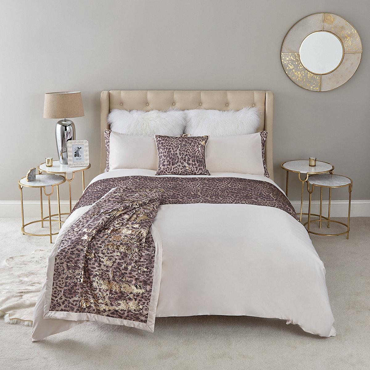 Cream leopard sequin super king duvet bed set