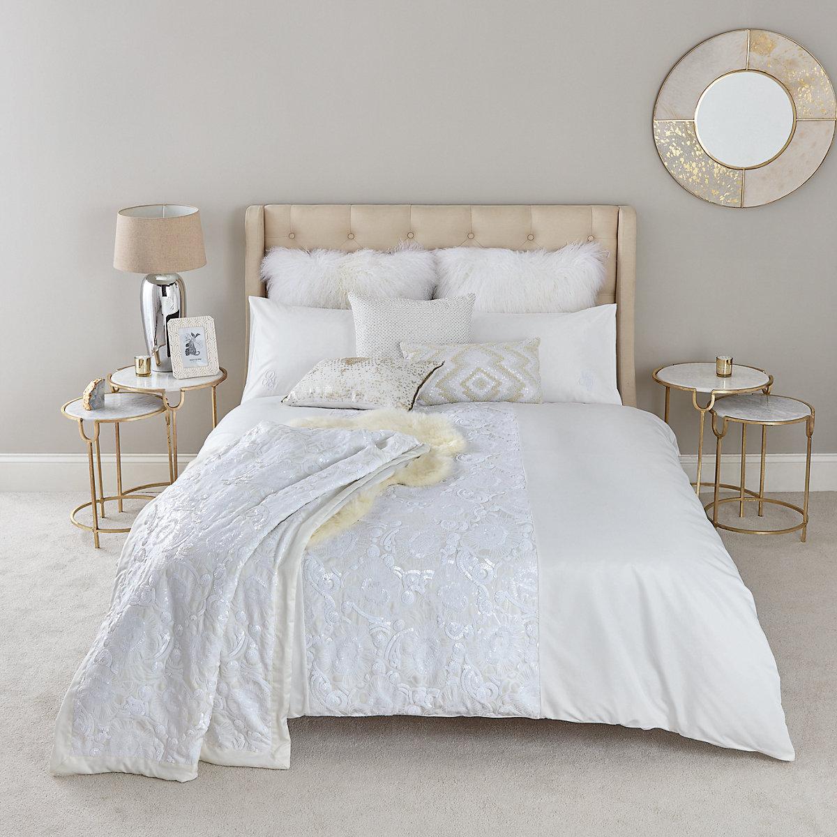 Cream white sequin double duvet bed set