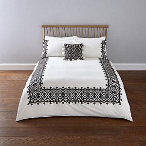 Parure de lit double brodée à motif géométrique blanche