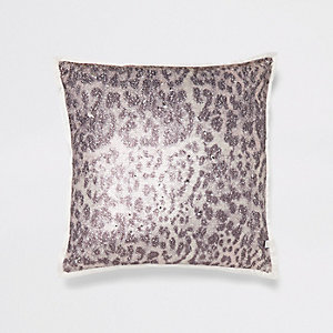 Cream leopard print sequin cushion