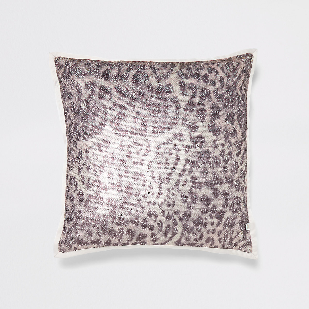 Cream leopard print sequin cushion
