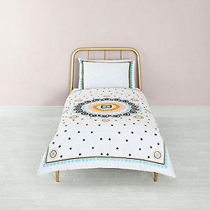 Cream medallion print single duvet bed set