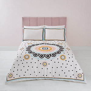 Parure de lit double crème brodée