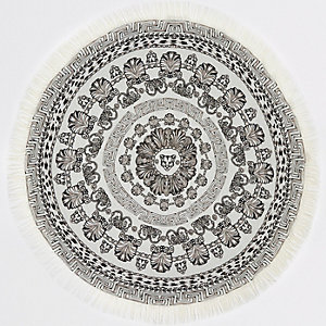 Mono panther print circle towel