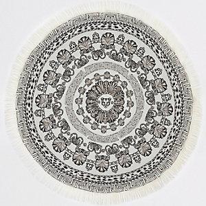 Serviette ronde à imprimé panthère monochrome légère