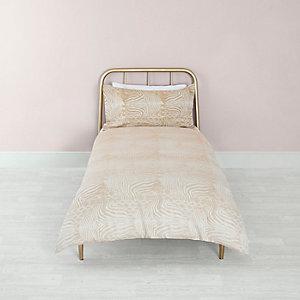 Parure de lit simple en jacquard à imprimé zèbre grège