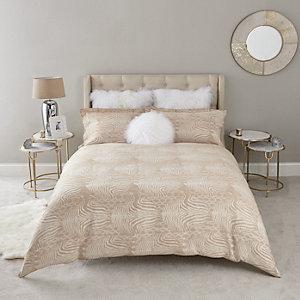 Parure de lit double en jacquard à imprimé zèbre grège