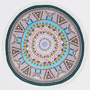 Blue boho print tassel lightweight towel