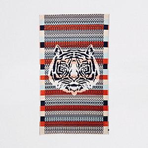 Orange tiger face print jacquard towel