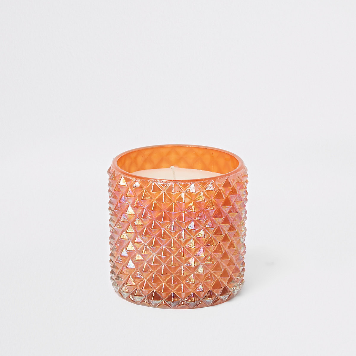 Coral iridescent spikey large candle