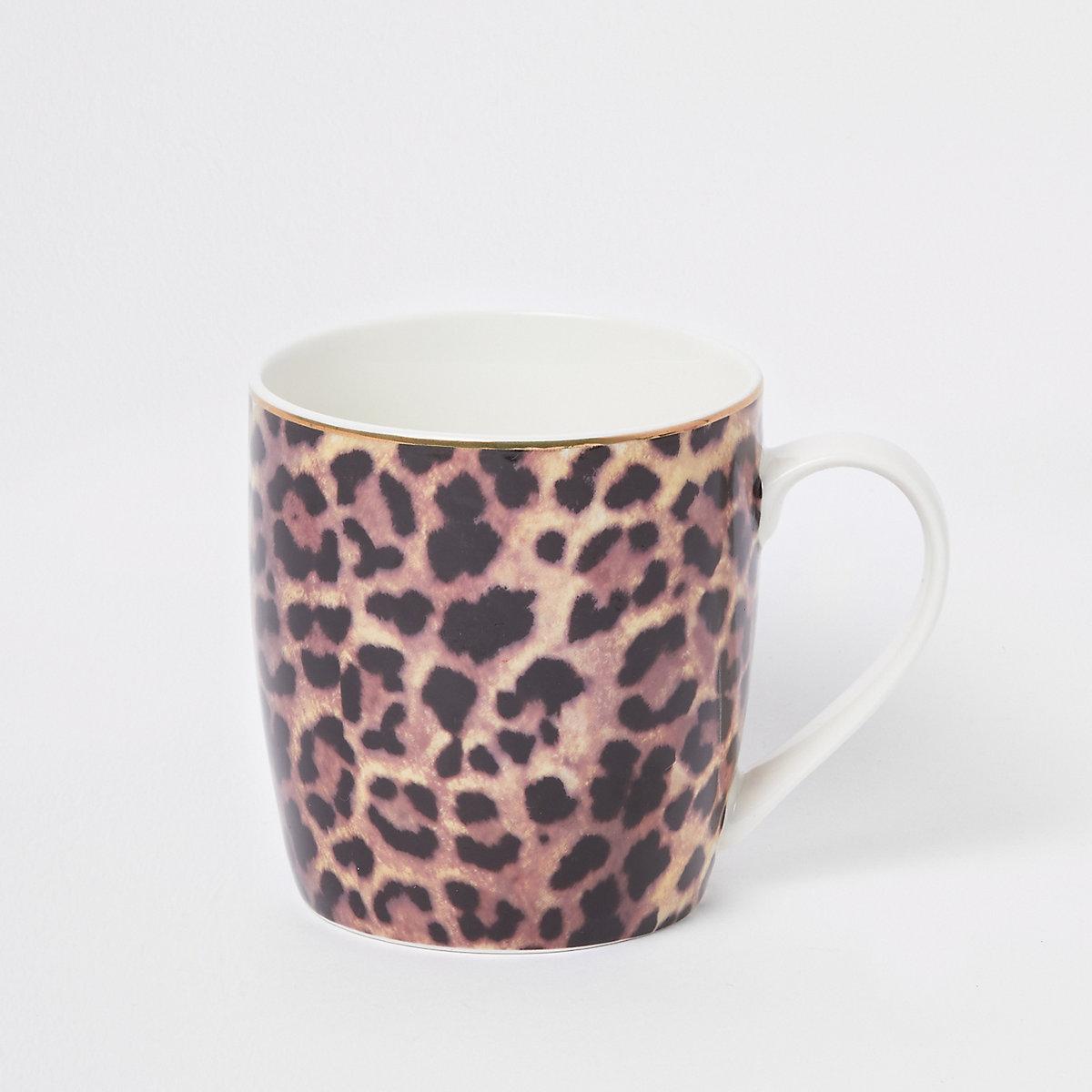 Brown leopard print tapered mug