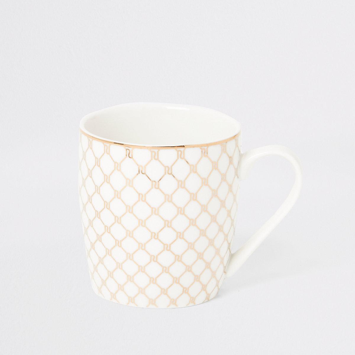 White RI monogram tapered mug
