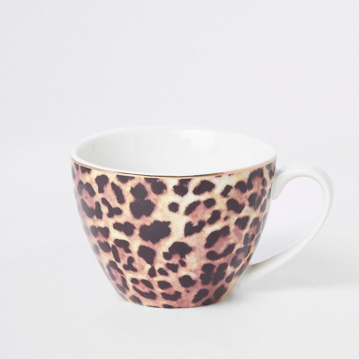 Brown leopard print bowl mug