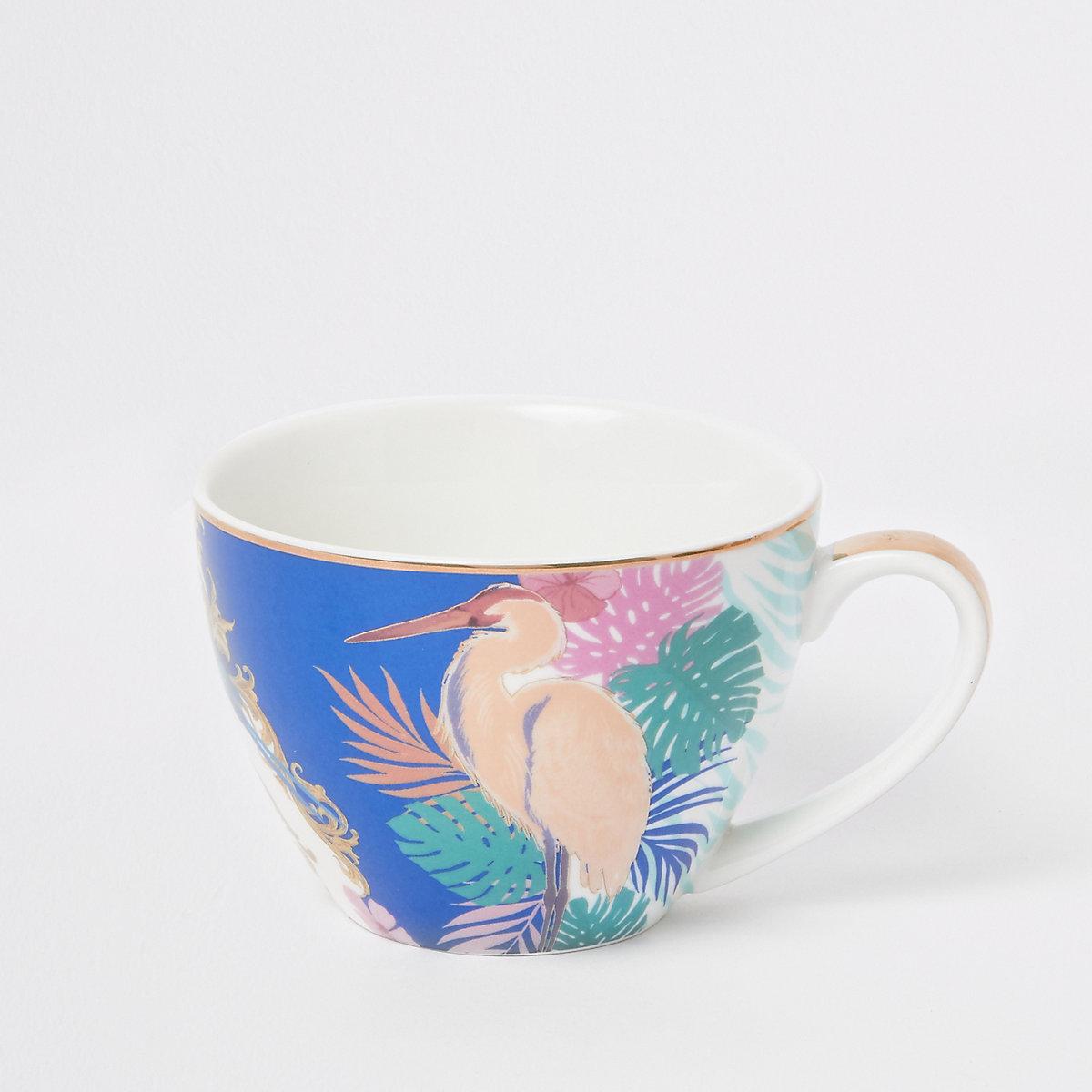 Blue heron print bowl mug