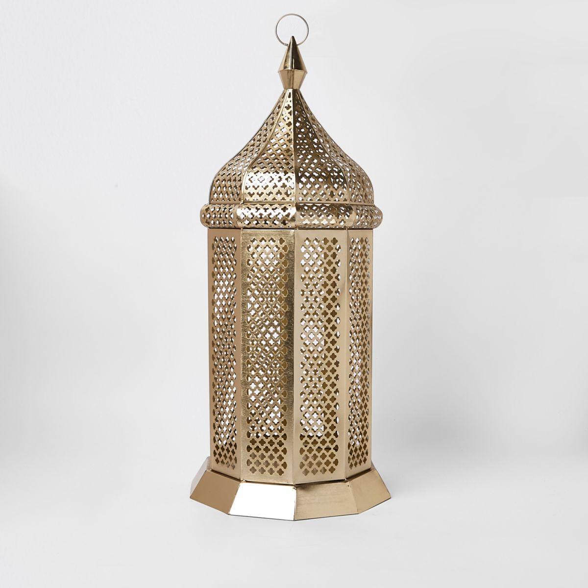 Gold oversized floor lantern