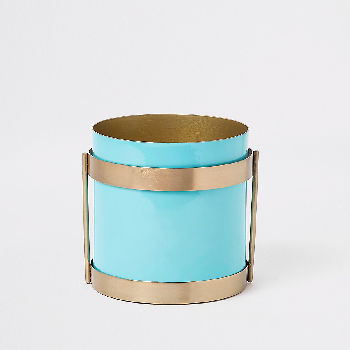 Turquoise metal planter