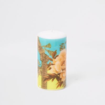 Turquoise Pastel Ornate Printed Candle by River Island