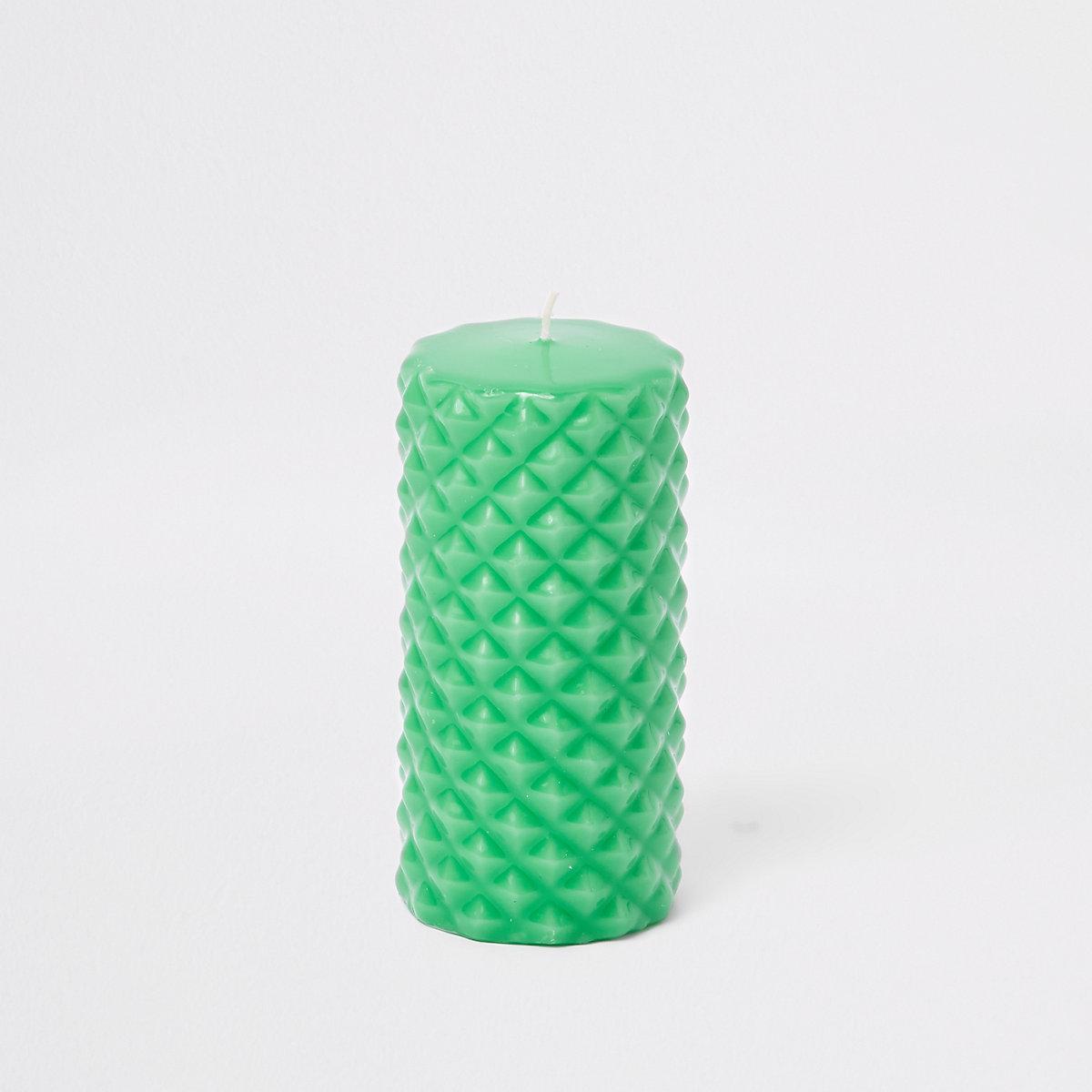 Green vanilla spike pillar candle