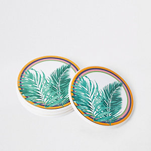 Green leaf print coasters multipack