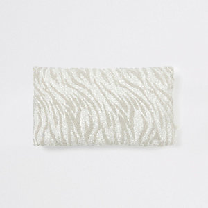 Silver zebra print beaded cushion