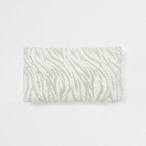Silver zebra print beaded cushion