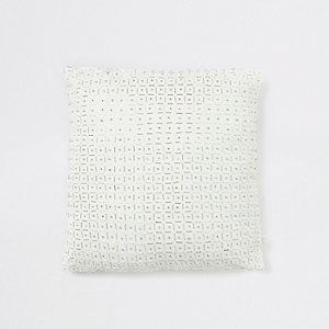 White and silver beaded grid print cushion