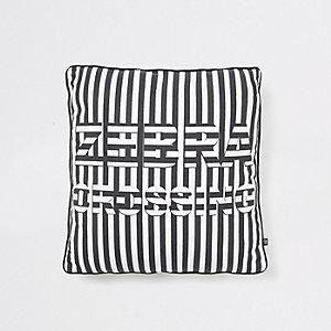 Coussin à inscription «Zebra Crossing» noir
