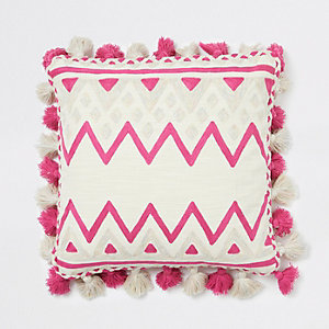 Pink multi print square cushion