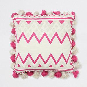 Coussin carré rose à imprimé multicolore