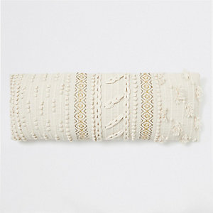 Cream bobble knit rectangular cushion
