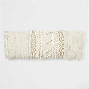 Cream bobble knit rectangular cushion