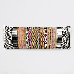 Black mono geo print long cushion
