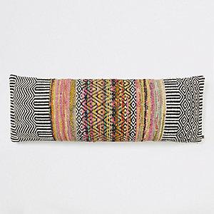 Black mono geo print long cushion