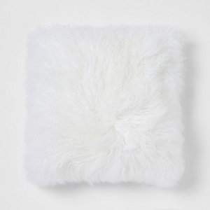 Large cream Mongolian square cushion