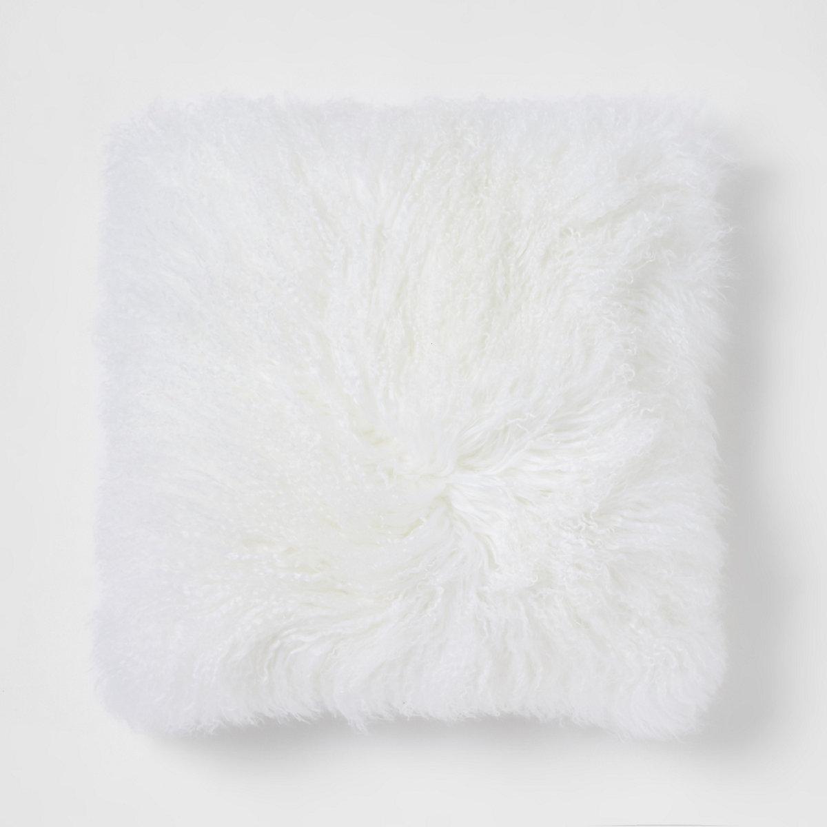 Large cream Mongolian square cushion