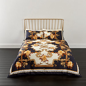 Blue ornate print king duvet bed set