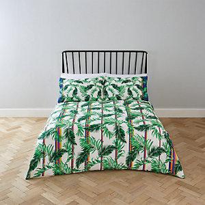 Parure de lit double à imprimé palmiers crème