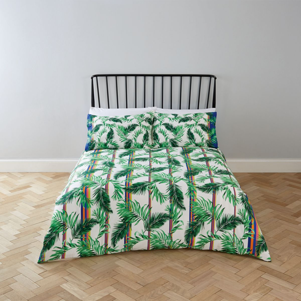 Cream palm print king duvet bed set