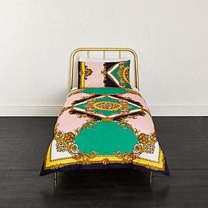Parure de lit simple ornée turquoise