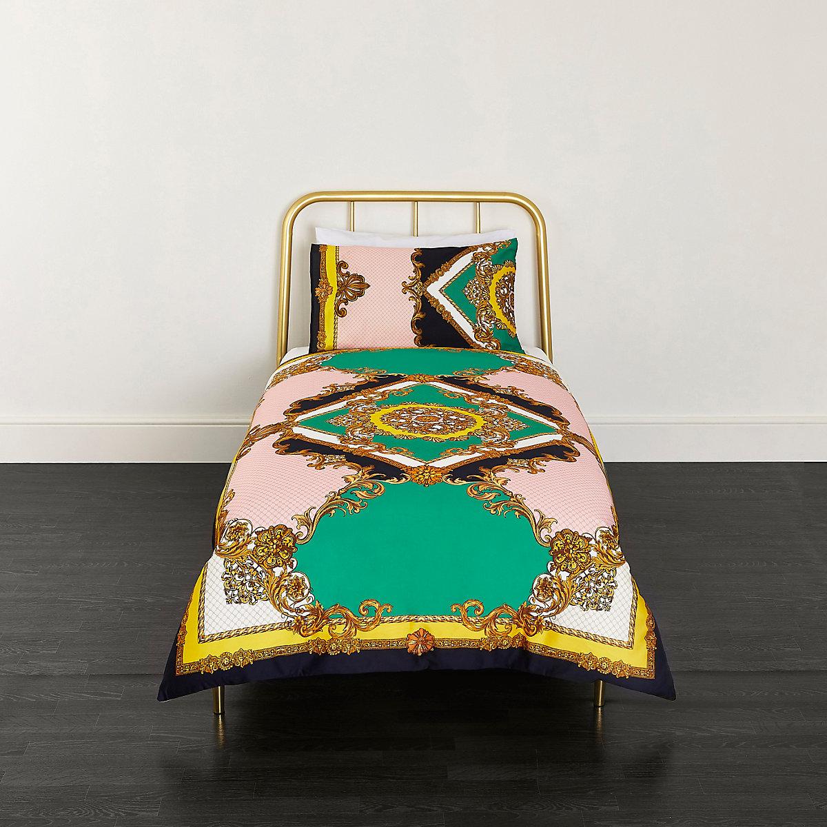 Turquoise ornate print single duvet bed set