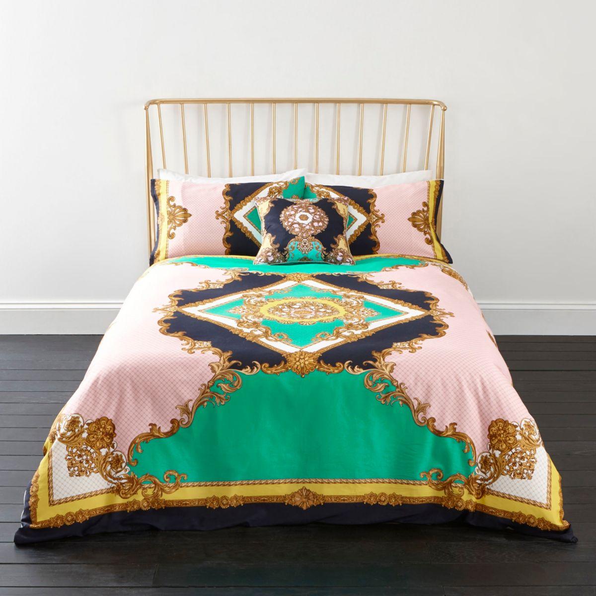 Turquoise ornate print king duvet bed set