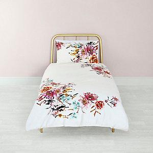 Parure de lit simple à imprimé fleuri rose