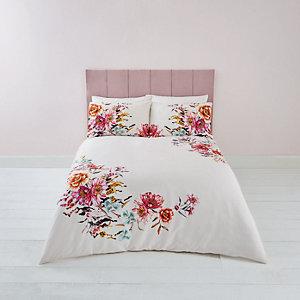 Parure de lit double à imprimé fleuri rose