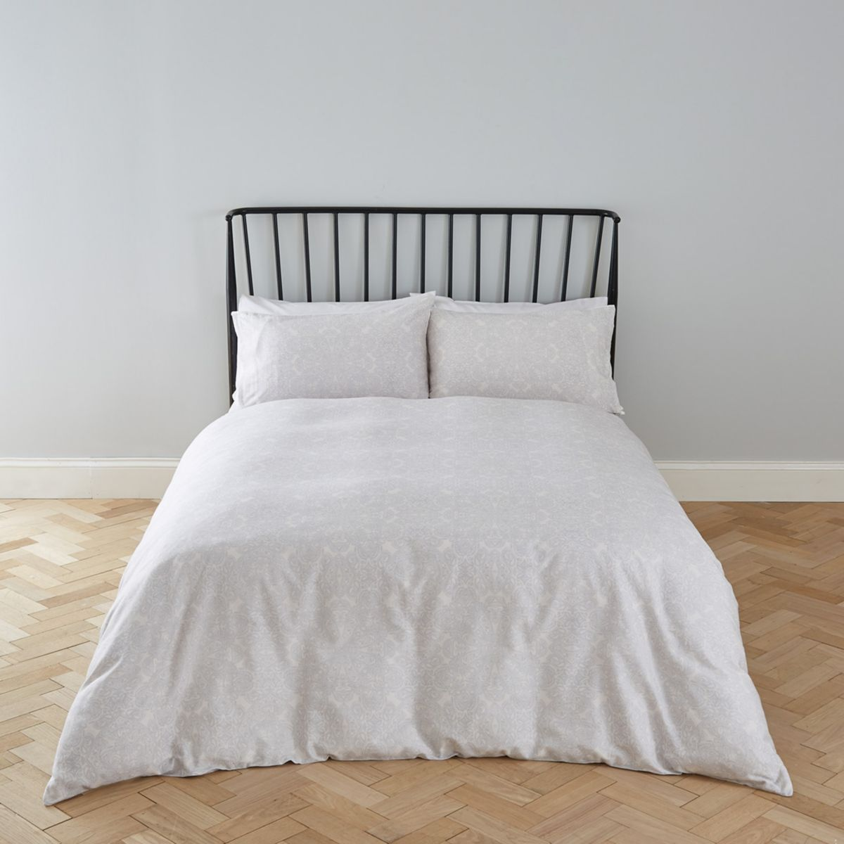 Grey paisley print king duvet bed set