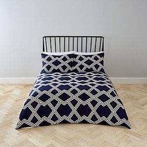 Parure de lit king à imprimé géométrique bleu marine